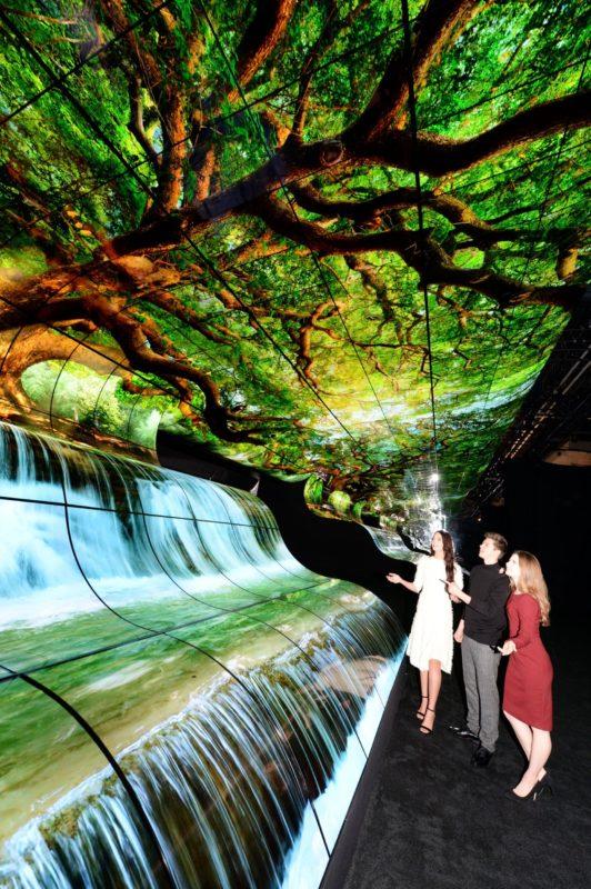 Инсталляция «Водопады LG OLED» на CES 2019
